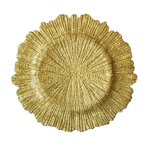 """The Jay Companies 13"""" Round Reef Gold Glass Charger Plate"""
