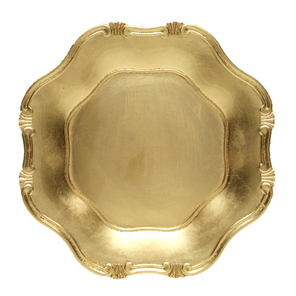 """The Jay Companies A275GR 13"""" Round Gold Baroque Polypropylene Charger Plate"""