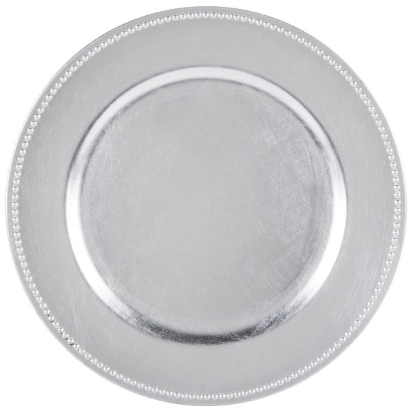 The Jay Companies 13 inch Round Silver Beaded Melamine Charger Plate