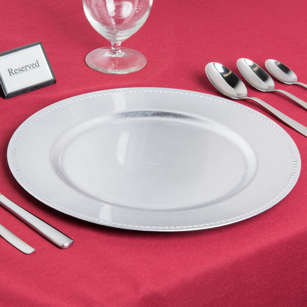 The Jay Companies 1180006AP-F 13  Round Silver Beaded Melamine Charger Plate & The Jay Companies 1180006AP-F 13