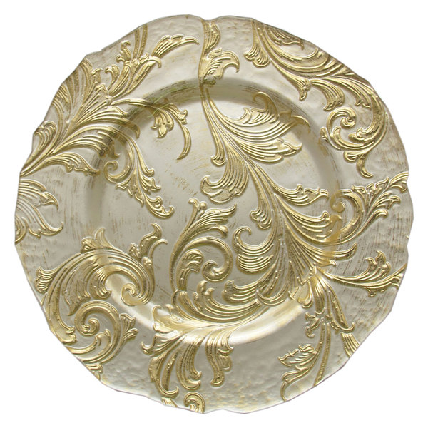 "The Jay Companies 13"" Round Vanessa Gold Glass Charger Plate"