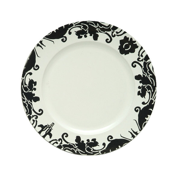 "The Jay Companies 13"" Round Black Damask Rim Polypropylene Charger Plate"