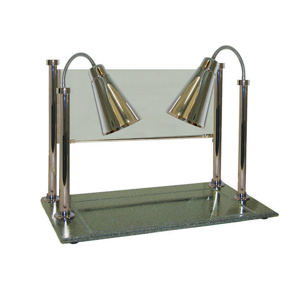 """Hanson Heat Lamps CD/900/ST/CH Two Single Bulb 20"""" x 36"""" Stainless Steel Carving Display with 900 Series Shades, Synthetic Granite Base, and Sneeze Guard"""