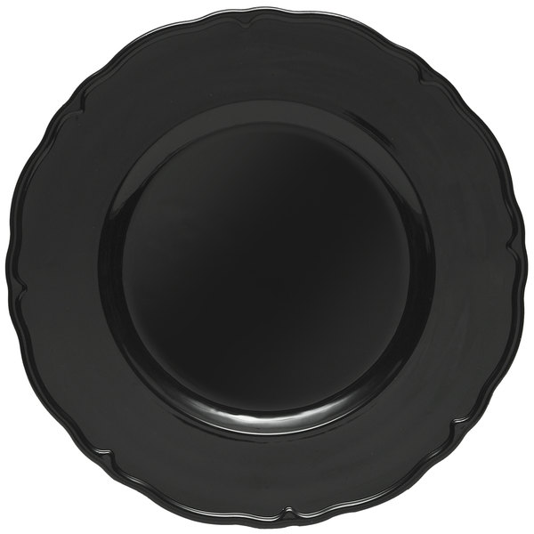 The Jay Companies 13 inch Round Black Regency Polypropylene Charger Plate