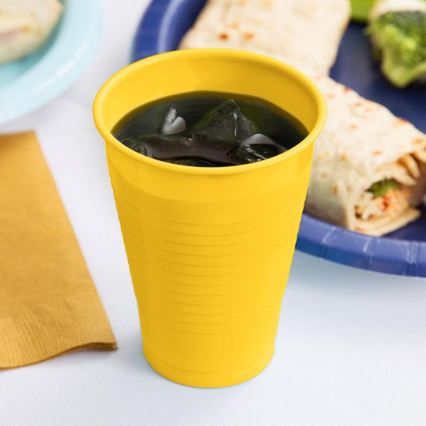 Creative Converting 28102171 12 oz. School Bus Yellow Plastic Cup - 240/Case Main Image 3