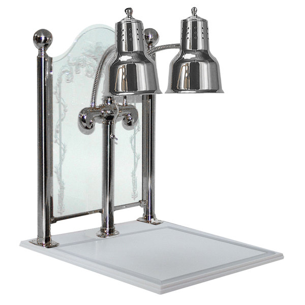 """Hanson Heat Lamps DLM/CC/WB/CH Dual Bulb 20"""" x 24"""" Chrome Carving Display with White Solid Surface Base and Sneeze Guard"""