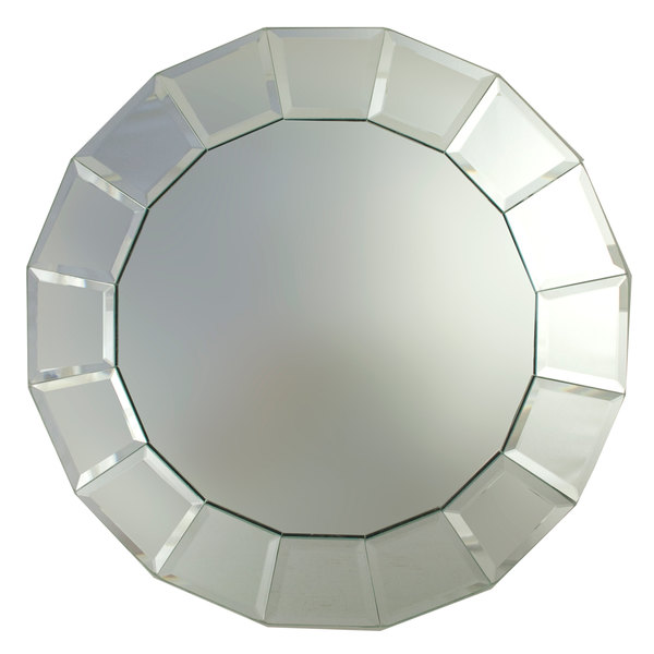 """The Jay Companies 13"""" Round Beveled Block Glass Mirror Charger Plate"""