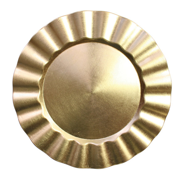The Jay Companies 13 inch Round Gold Ruffled Rim Polypropylene Charger Plate
