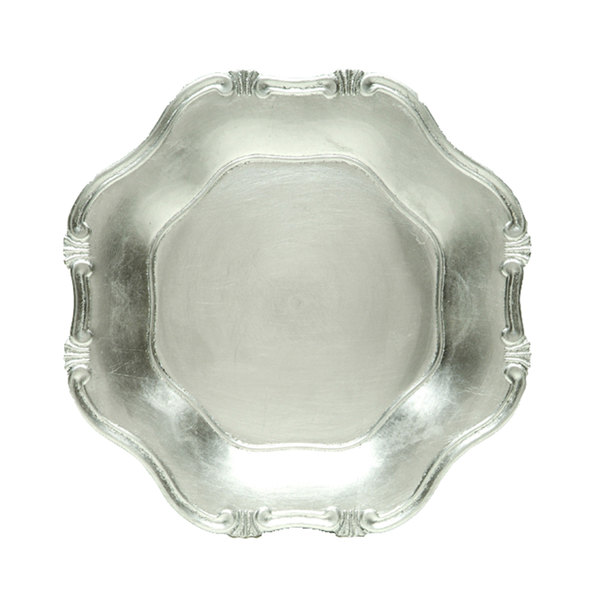 """The Jay Companies 13"""" Round Silver Baroque Polypropylene Charger Plate"""