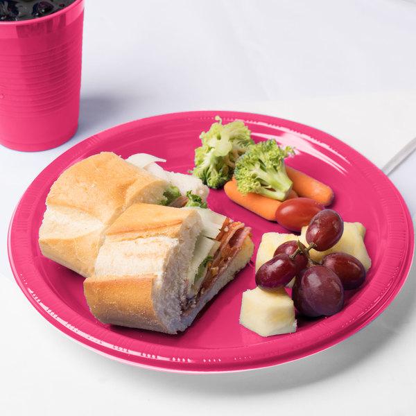 "Creative Converting 28177031 10"" Hot Magenta Pink Plastic Plate - 240/Case Main Image 3"