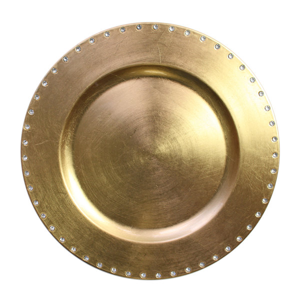 """The Jay Companies A467GR 13"""" Round Gold Jeweled Rim Plastic Charger Plate"""
