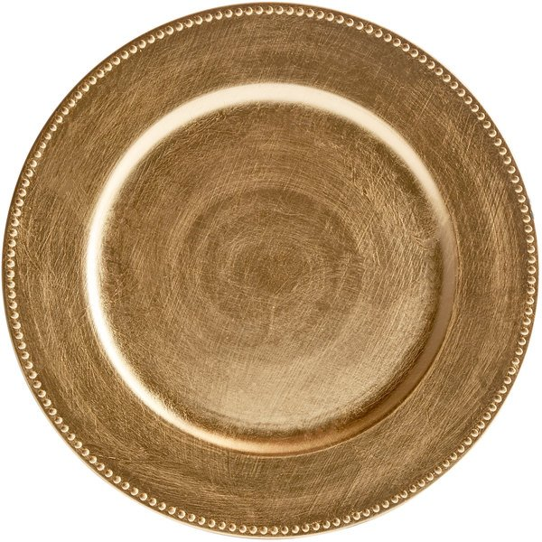 """The Jay Companies 1180005AP-F 13"""" Gold Round Beaded Plastic Charger Plate"""