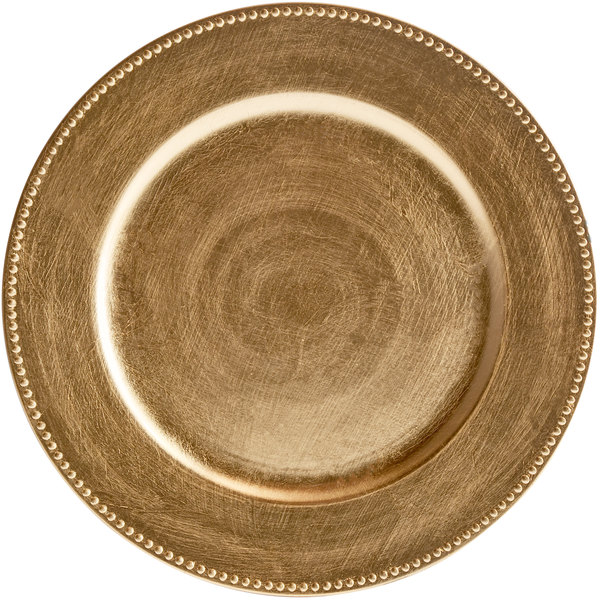 The Jay Companies 1180005AP-F 13 inch Gold Round Beaded Plastic Charger Plate