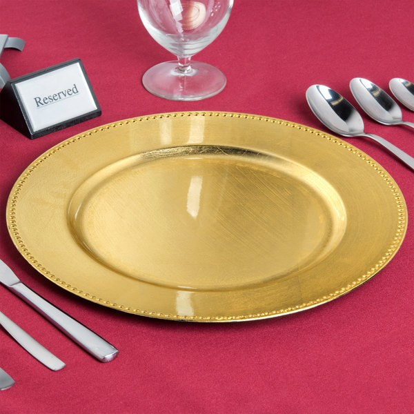"""The Jay Companies 1180005AP-F 13"""" Round Gold Beaded Melamine Charger Plate"""