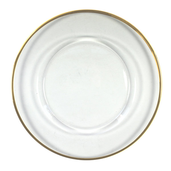 """The Jay Companies 1900002 13"""" Round Gold Rim Glass Charger Plate"""
