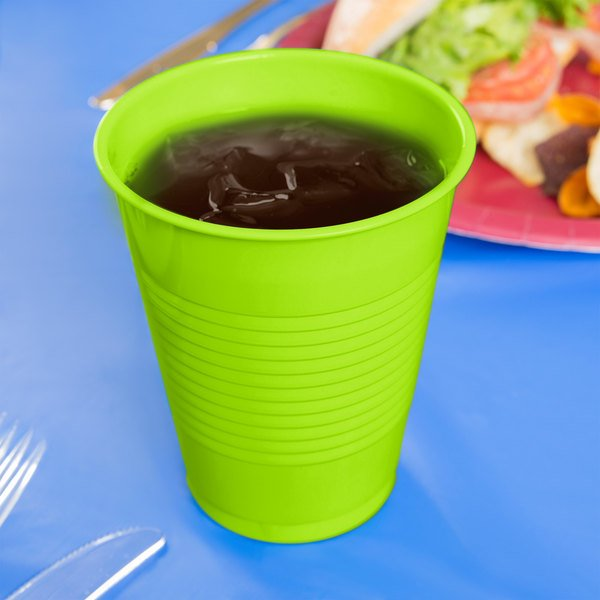 Creative Converting 28312381 16 oz. Fresh Lime Green Plastic Cup - 240/Case Main Image 3