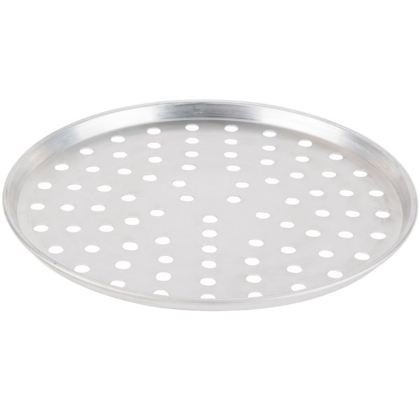 "American Metalcraft PA2007 7"" x 1/2"" Perforated Standard Weight Aluminum Tapered / Nesting Pizza Pan Main Image 1"