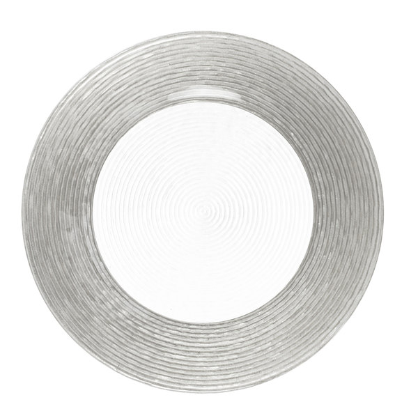 "The Jay Companies 1470275 13"" Round Circus Silver Border Glass Charger Plate"