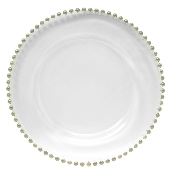 """The Jay Companies 13"""" Round Silver Beaded Glass Charger Plate"""