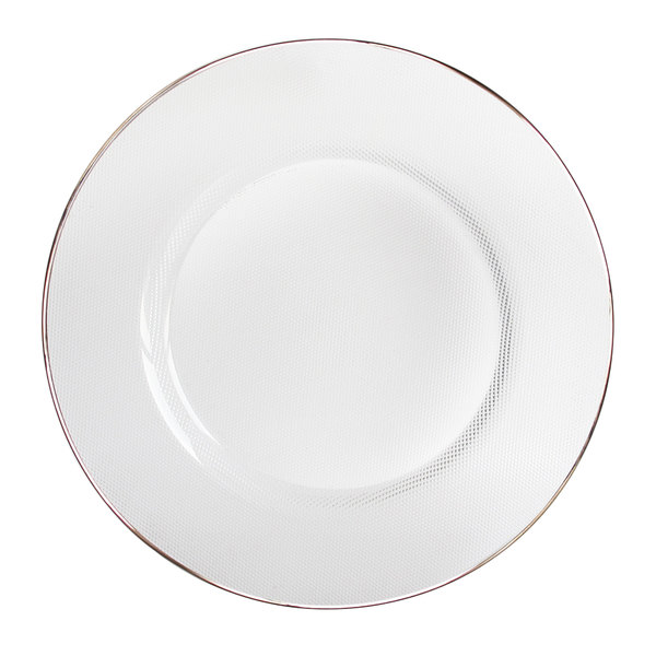 The Jay Companies 1970002 13  Round Clear Platinum Rim Glass Charger Plate  sc 1 st  WebstaurantStore & The Jay Companies 1970002 13