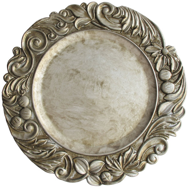 """The Jay Companies 1320378 14"""" Round Silver Aristocrat Plastic Charger Plate"""