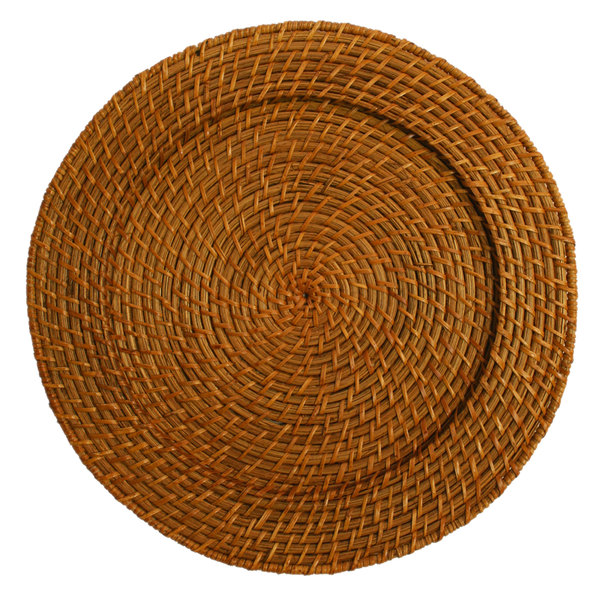 "The Jay Companies 13"" Round Honey Rattan Charger Plate"
