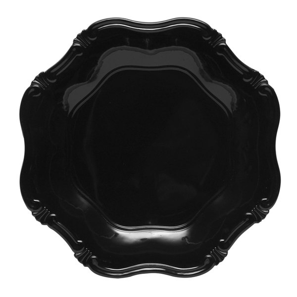 The Jay Companies 13 inch Round Black Baroque Polypropylene Charger Plate