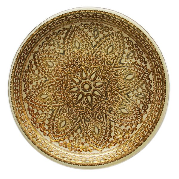 "The Jay Companies 13"" Round Divine Gold Glass Charger Plate"