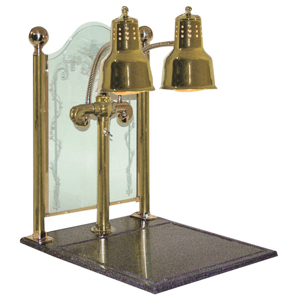 """Hanson Heat Lamps DLM/CC/BB/BR Dual Bulb 20"""" x 24"""" Brass Carving Display with Synthetic Granite Base and Sneeze Guard"""