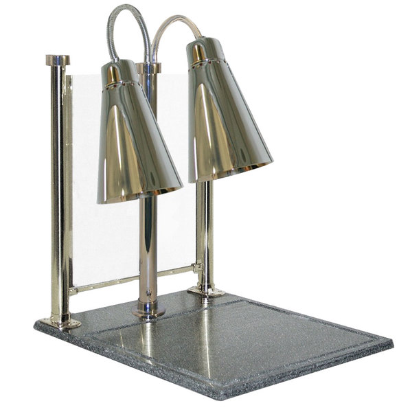 """Hanson Heat Lamps DLM/900/CC/ST/BR Streamline Style Dual Bulb 20"""" x 24"""" Stainless Steel Carving Station with 900 Series Shades, Solid Cutting Base, and Sneeze Guard"""