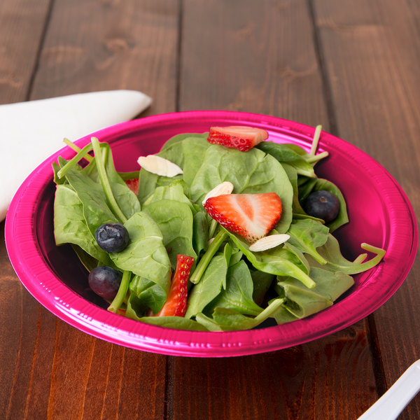 Creative Converting 28177051 12 oz. Hot Magenta Pink Plastic Bowl - 240/Case Main Image 2