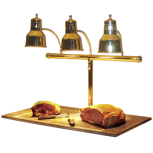 """Hanson Heat Lamps 3LM-BB Triple Bulb 20"""" x 36"""" Brass Carving Station with Synthetic Granite Base"""