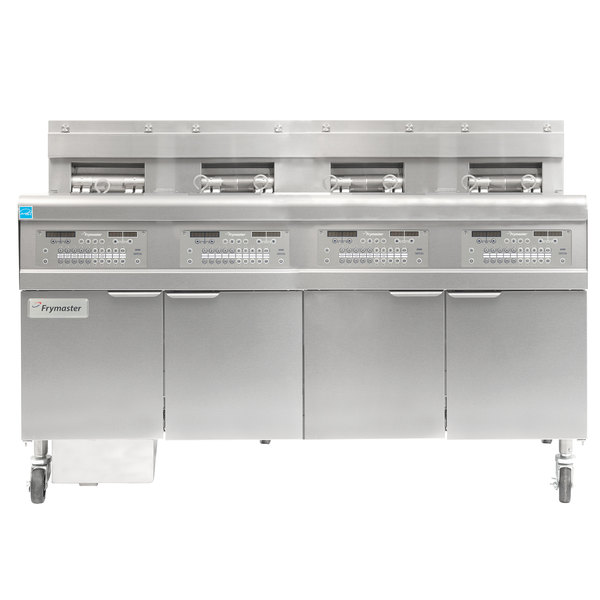 Frymaster FPGL430-6RC Natural Gas Floor Fryer with Full Left Frypot / Three Right Split Pots and Automatic Top Off - 300,000 BTU