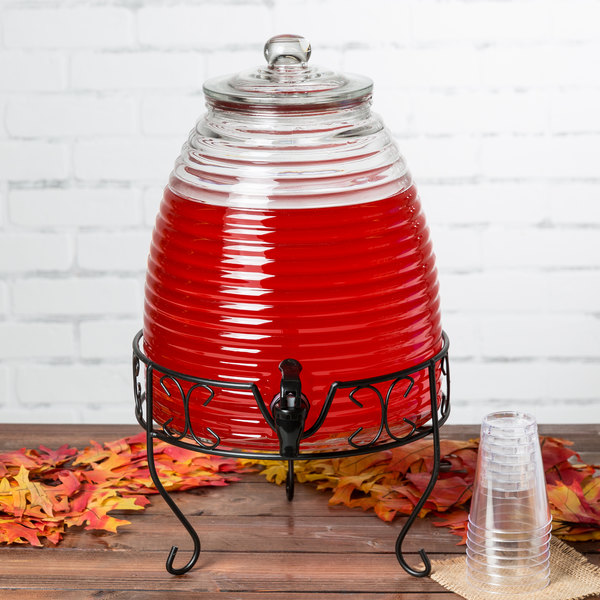 Core 2.4 Gallon Glass Beverage Dispenser with Metal Stand