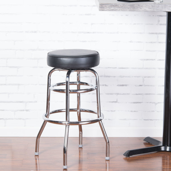 """Lancaster Table & Seating Black Double Ring Barstool with 3 1/2"""" Thick Seat"""