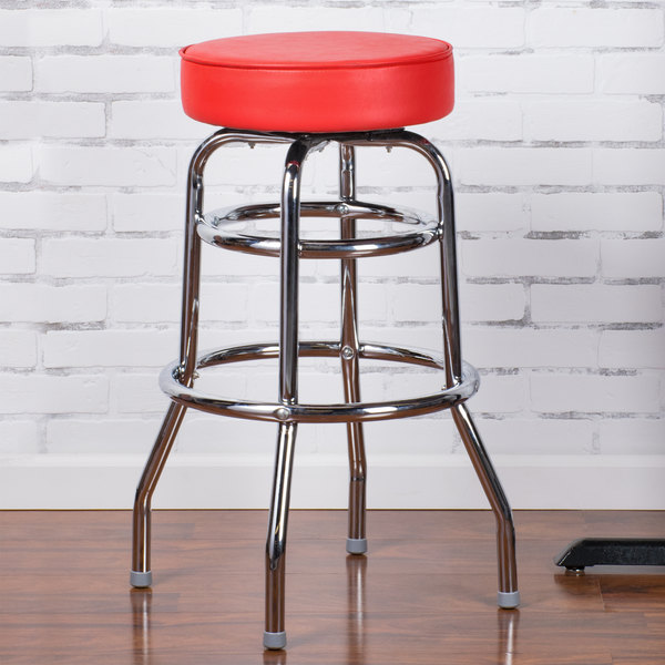 "Lancaster Table & Seating Red Double Ring Barstool with 3 1/2"" Thick Seat"