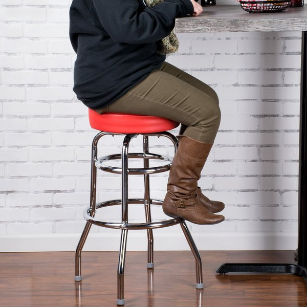 """Lancaster Table & Seating Red Double Ring Barstool with 3 1/2"""" Thick Seat Main Image 3"""