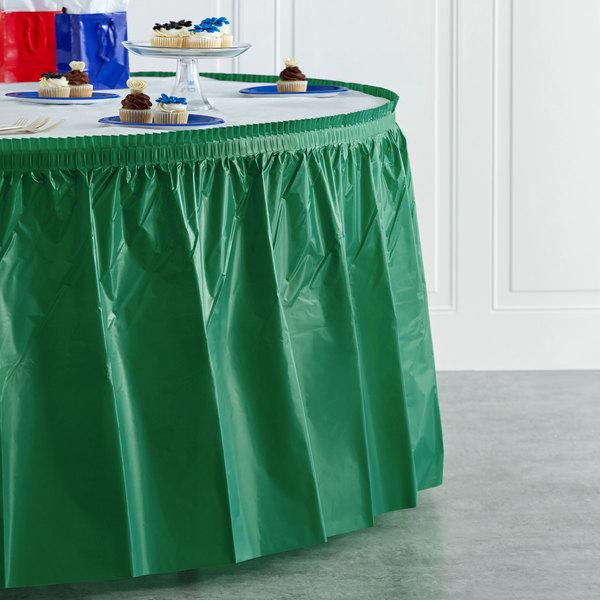 "Creative Converting 10020 14' x 29"" Emerald Green Disposable Plastic Table Skirt Main Image 4"