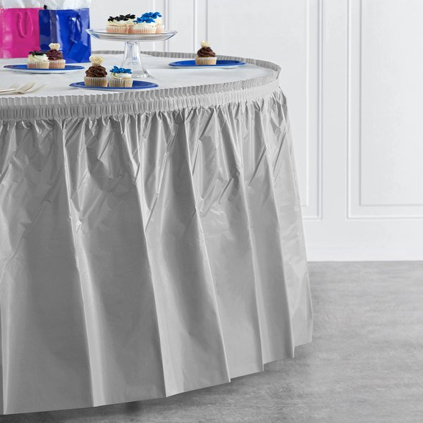 """Creative Converting 10043 14' x 29"""" Shimmering Silver Disposable Plastic Table Skirt Main Image 4"""