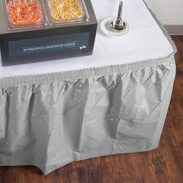 """Creative Converting 10043 14' x 29"""" Shimmering Silver Disposable Plastic Table Skirt"""
