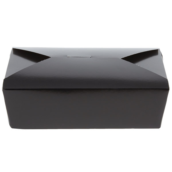 Southern Champion 0783 8 inch x 6 inch x 3 inch ChampPak Retro Black Microwavable Paper #3 Take-Out Container - 200/Case