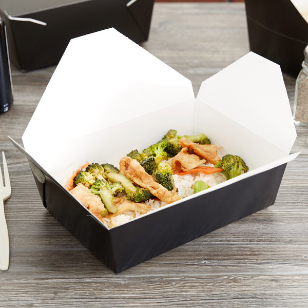 """Southern Champion 0783 8"""" x 6"""" x 3"""" ChampPak Retro Black Microwavable Paper #3 Take-Out Container - 200/Case"""