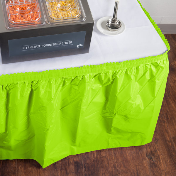 """Creative Converting 743123 14' x 29"""" Fresh Lime Green Disposable Plastic Table Skirt"""