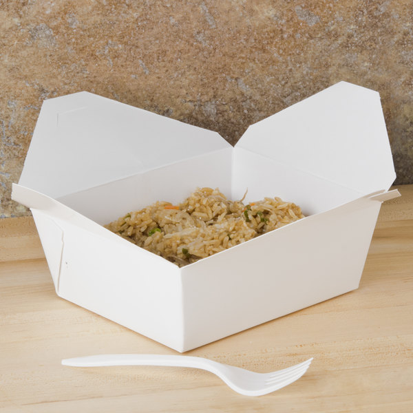 """Southern Champion 778 6"""" x 5"""" x 3"""" ChampPak Retro White Microwavable Paper #8 Take-Out Container - 300/Case"""