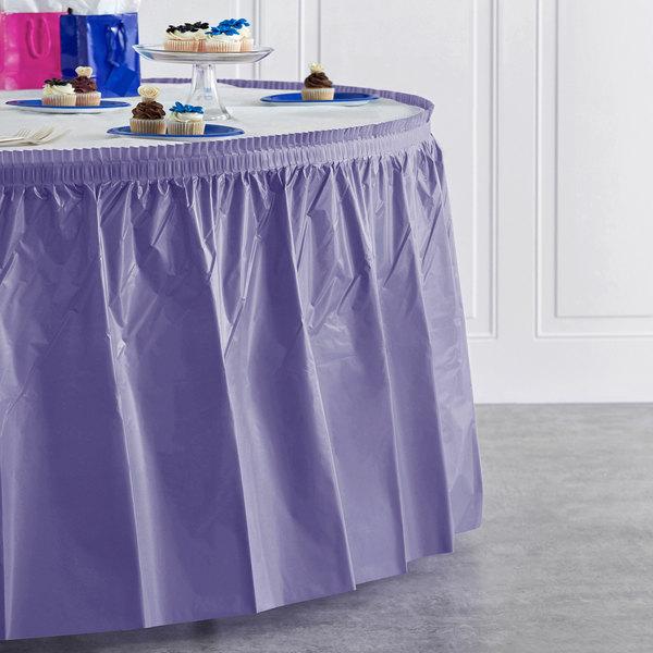 "Creative Converting 10039 14' x 29"" Purple Disposable Plastic Table Skirt Main Image 4"