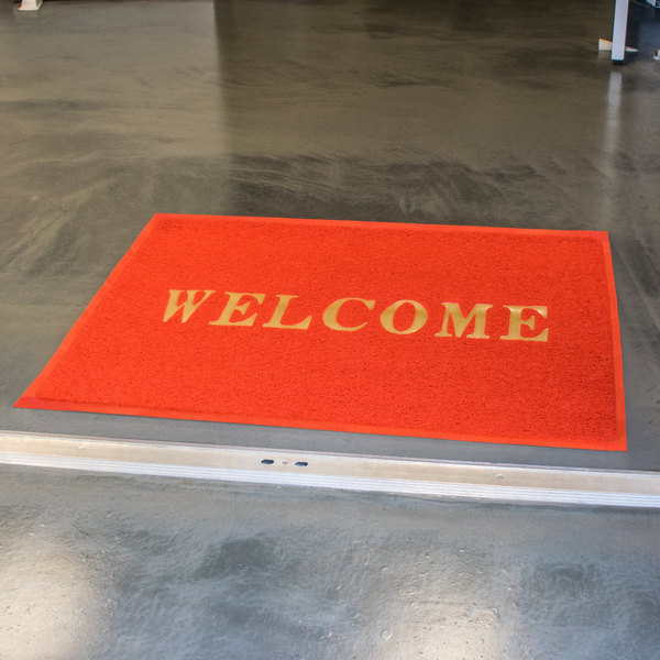 """4' x 3' Red """"Welcome"""" Entrance Floor Mat"""