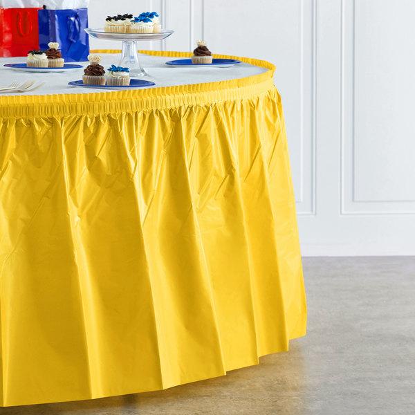 "Creative Converting 10041 14' x 29"" School Bus Yellow Disposable Plastic Table Skirt Main Image 4"