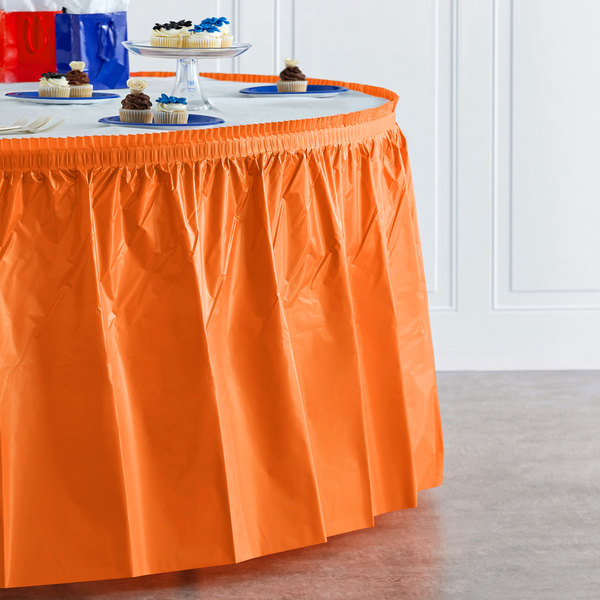 "Creative Converting 10044 14' x 29"" Sunkissed Orange Disposable Plastic Table Skirt Main Image 4"