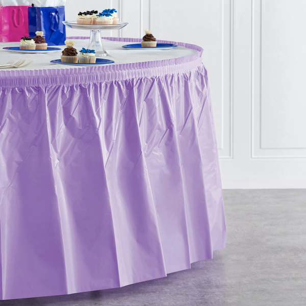 "Creative Converting 10034 14' x 29"" Luscious Lavender Purple Disposable Plastic Table Skirt Main Image 4"