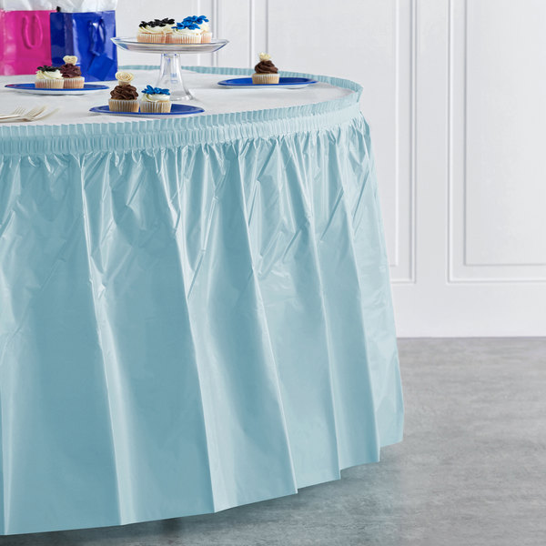 """Creative Converting 10037 14' x 29"""" Pastel Blue Disposable Plastic Table Skirt Main Image 4"""